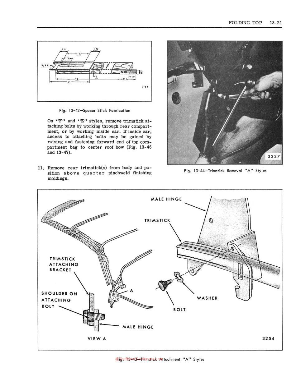 1969 Fisher Body Shop Manual Sample Page - Folding Top Section