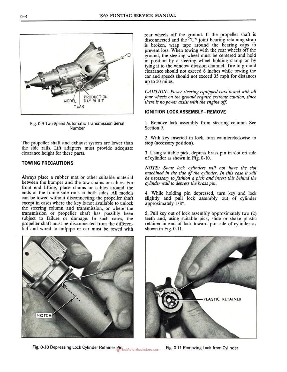 1969 Pontiac Shop Manual Sample Page - Ignition Lock Assembly
