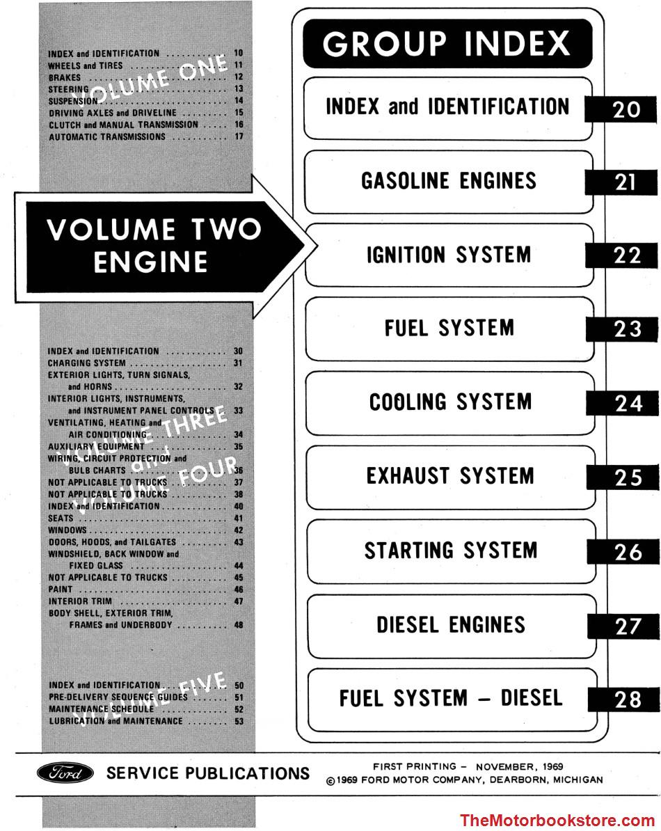 1970 Ford Truck Shop Manual Volume 2 Table of Contents