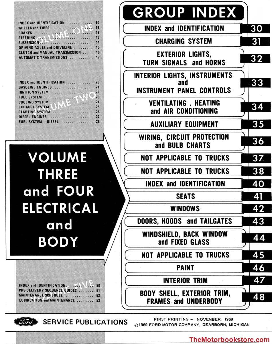 1970 Ford Truck Shop Manual Volume 3-4 Table of Contents