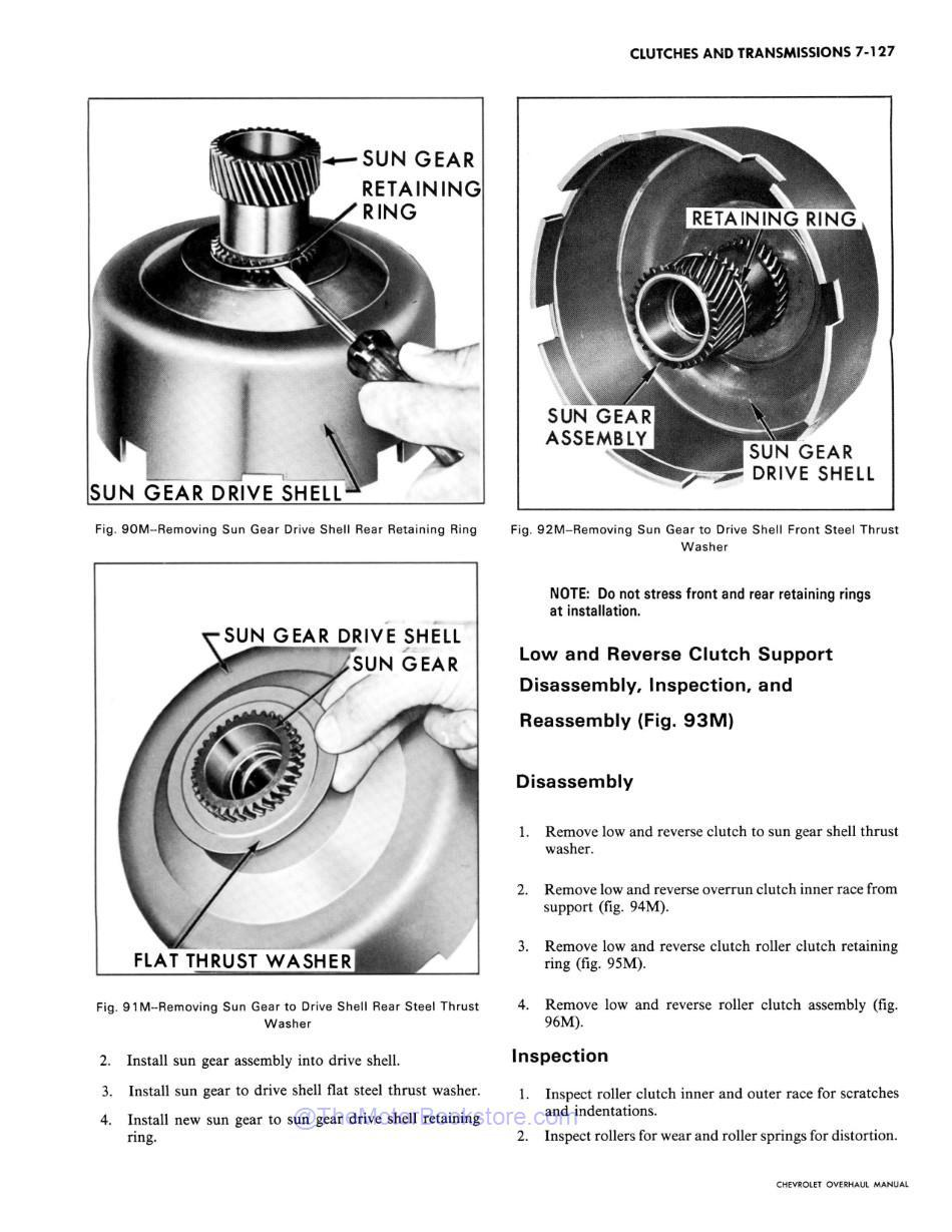 1971 Chevy Car / Truck Chassis Overhaul Manual Sample Page - Clutch Disassembly