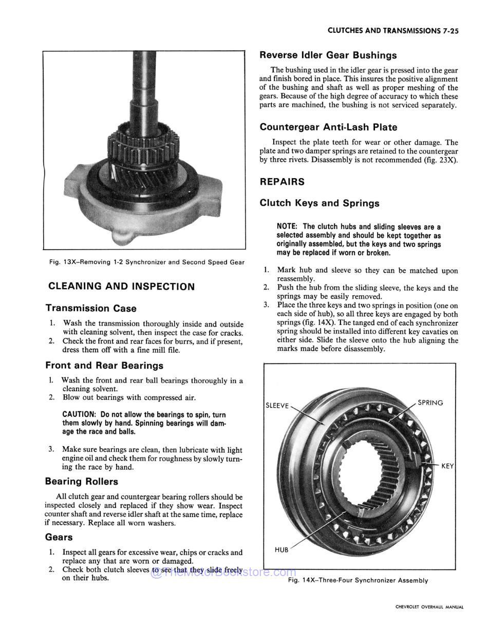 1972 Chevy Car / Truck Chassis Overhaul Manual Sample Page - Clutch Repairs