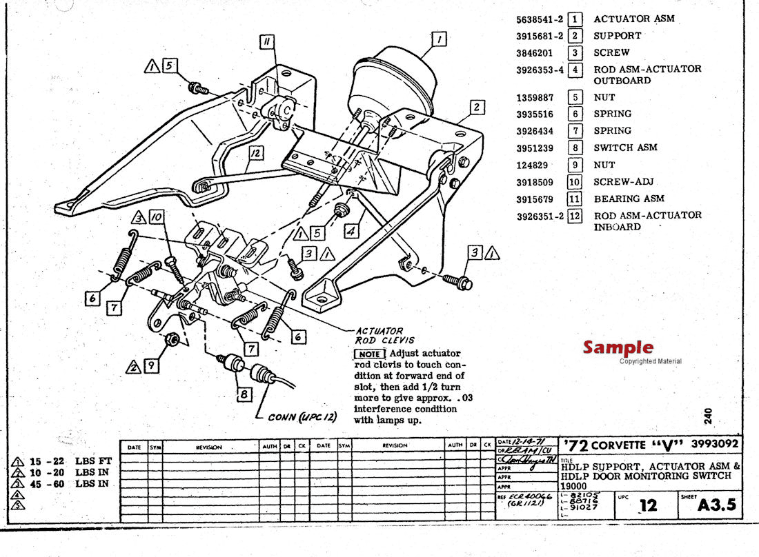 1972 Corvette Factory Assembly Manual, Sample Page - HDLP Support, Actuator ASM & HDLP Door Monitoring Switch