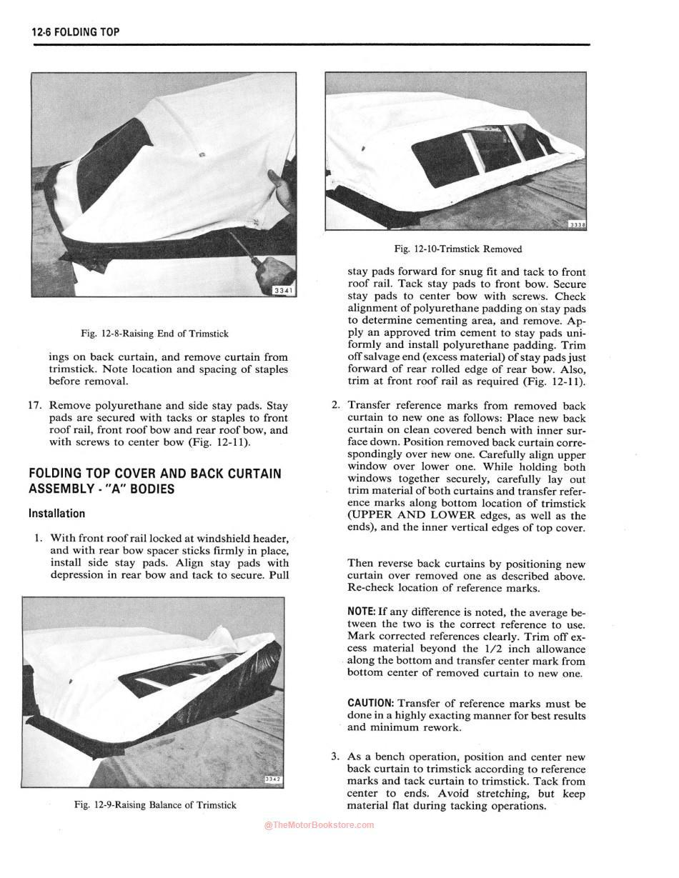 1972 Fisher Body Shop Manual Sample Page - Folding Top Section