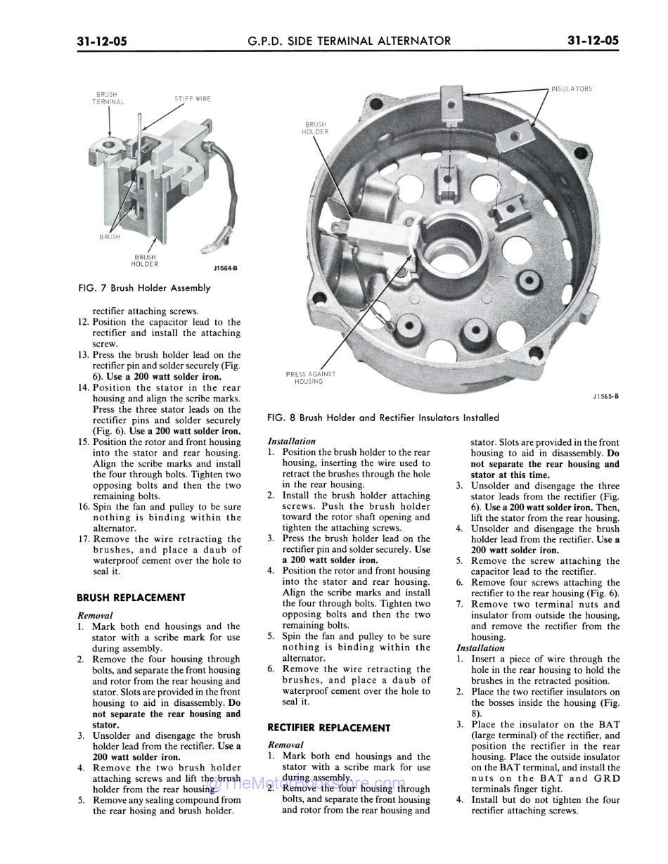 1973 Ford / Lincoln / Mercury Shop Manual Sample Page - Brush / Rectifier Replacement