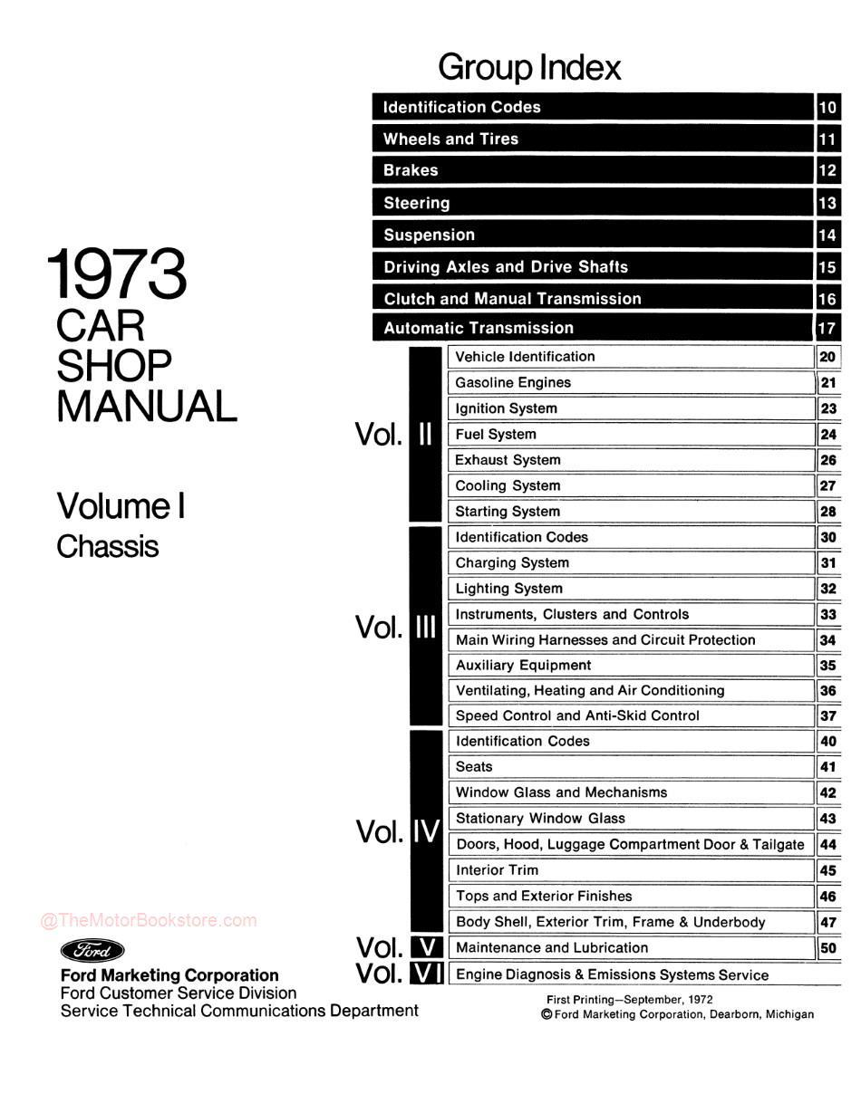 1973 Ford / Lincoln / Mercury Shop Manual -Table of Contents Volume 1