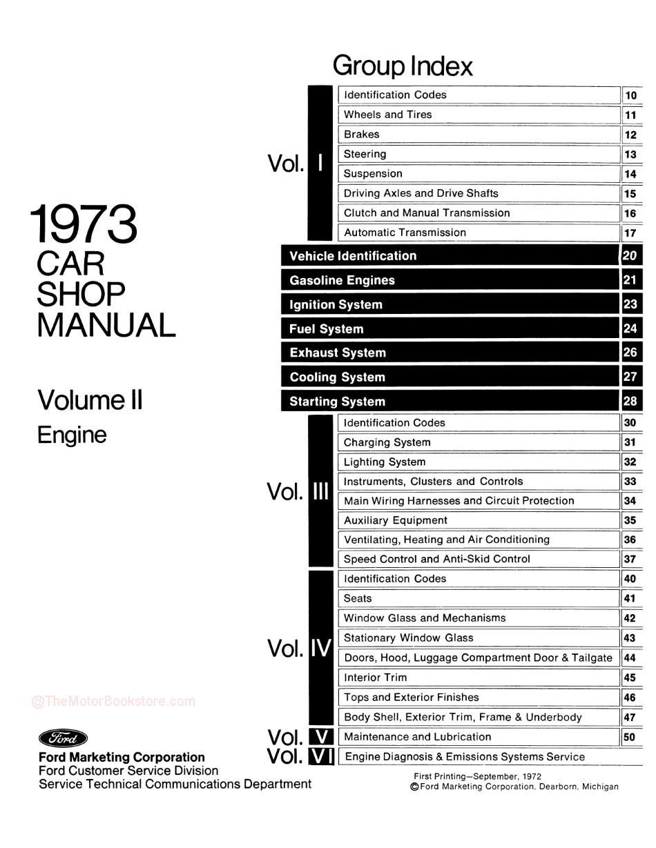 1973 Ford / Lincoln / Mercury Shop Manual -Table of Contents Volume 2