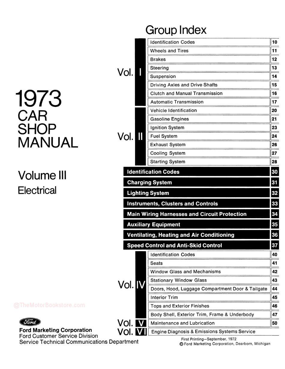 1973 Ford / Lincoln / Mercury Shop Manual -Table of Contents Volume 3
