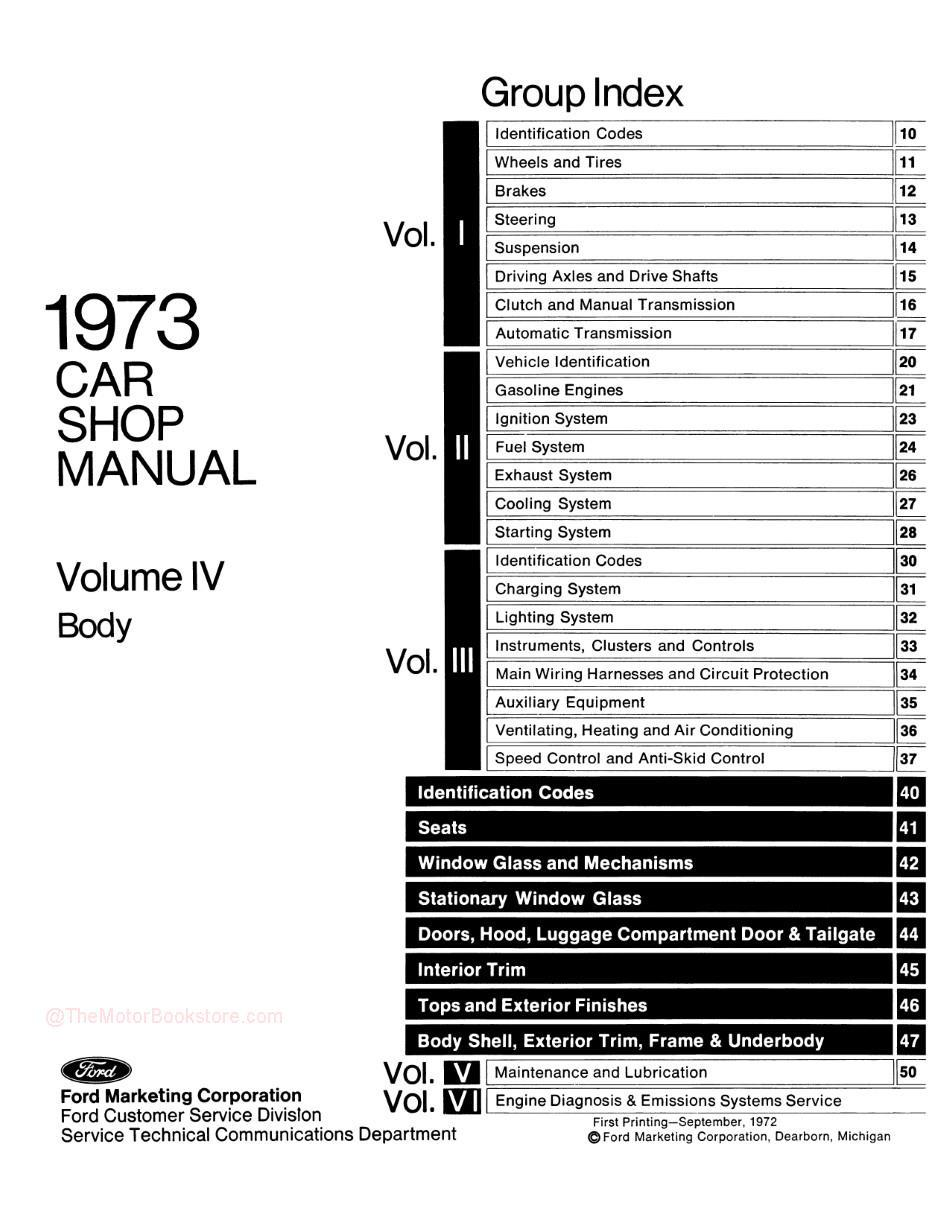 1973 Ford / Lincoln / Mercury Shop Manual -Table of Contents Volume 4