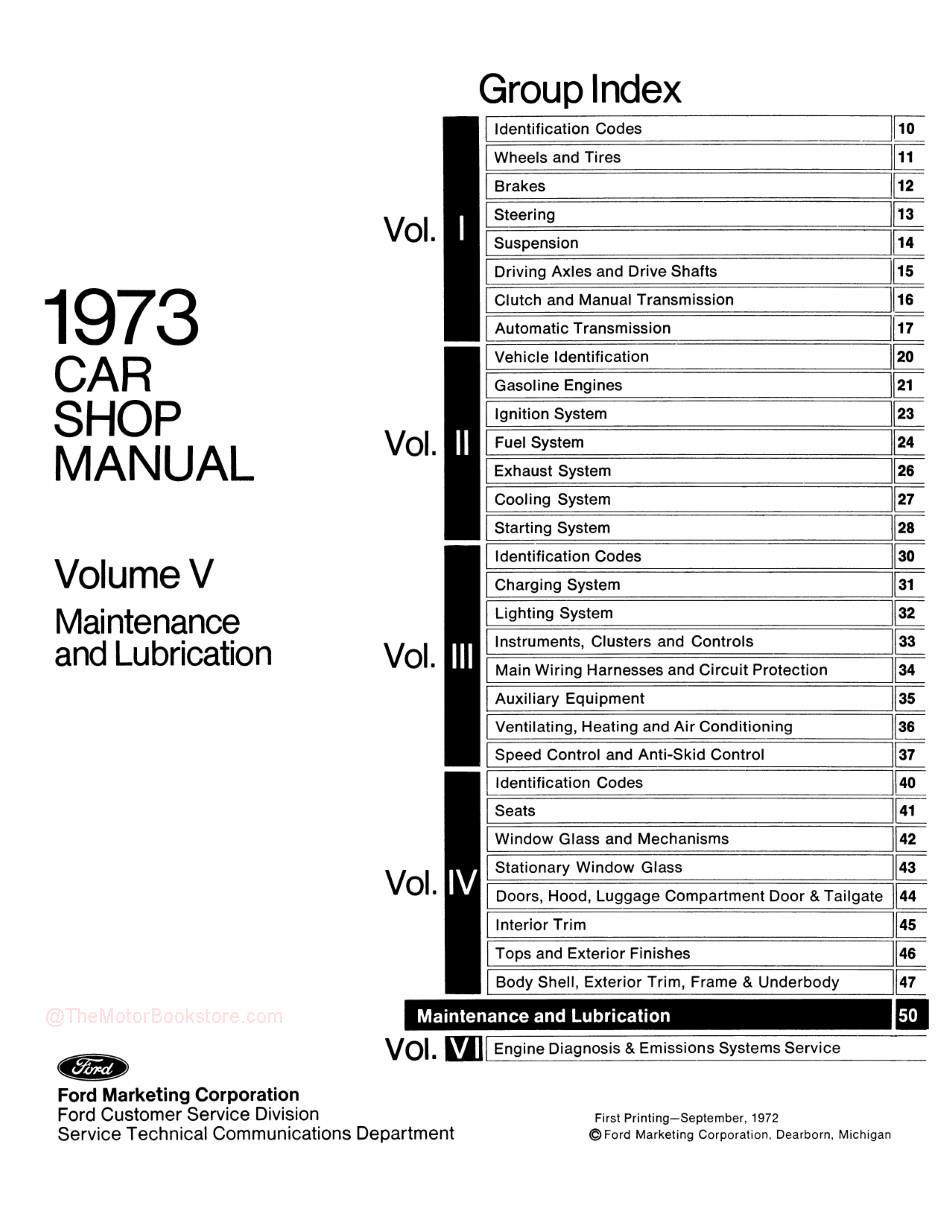 1973 Ford / Lincoln / Mercury Shop Manual -Table of Contents Volume 5
