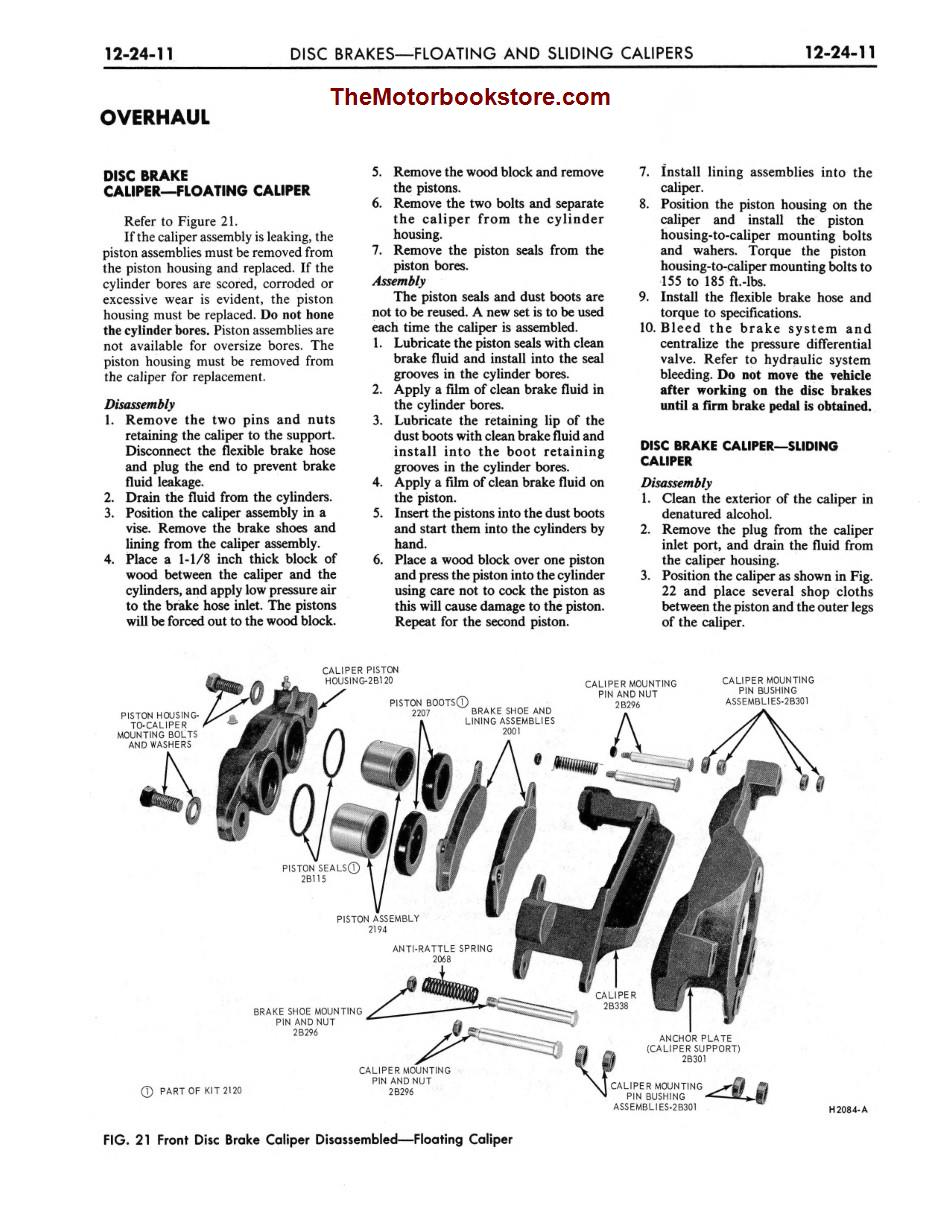 1973 Ford Truck Shop Manual Sample Page - Disc Brakes