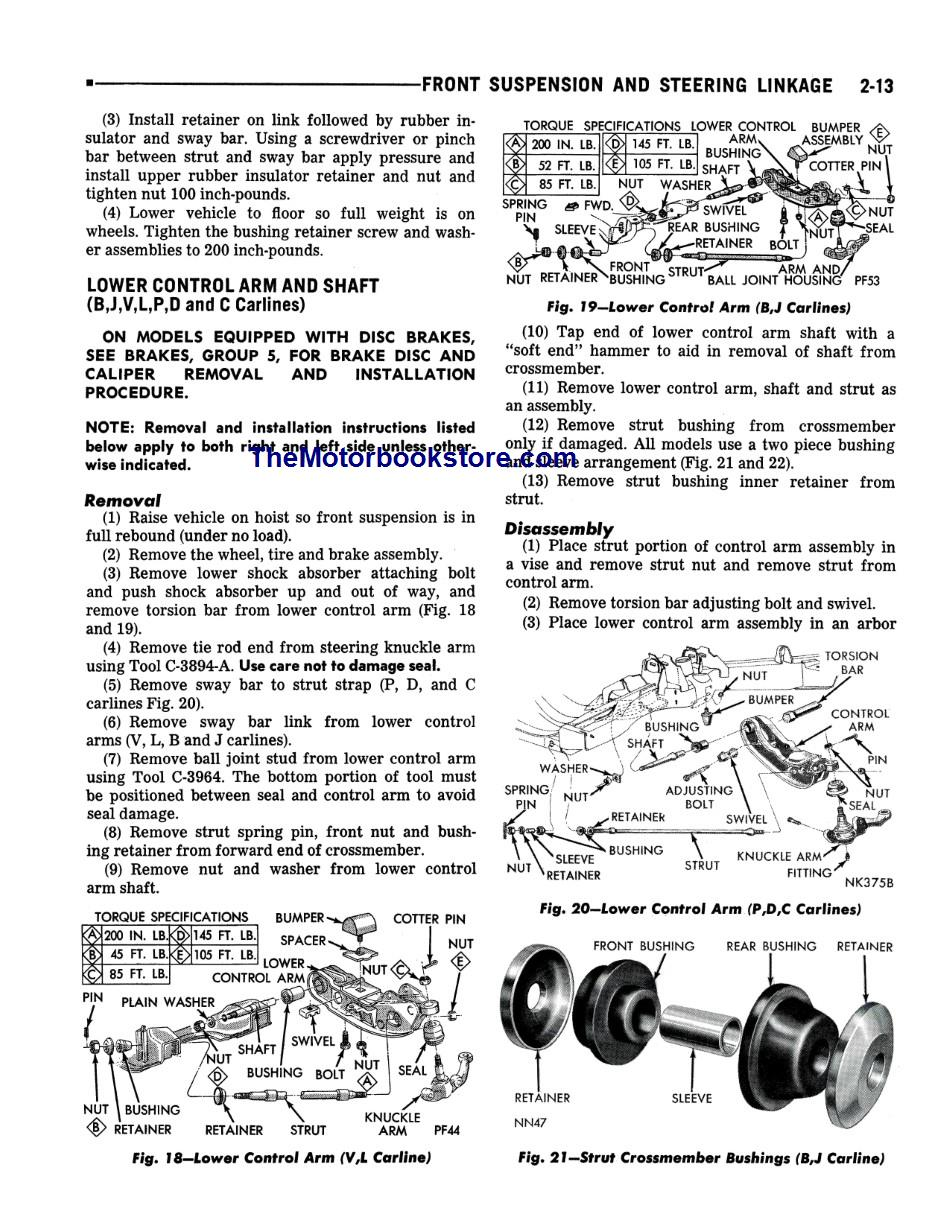 1973 Plymouth, Chrysler, Imperial Chassis Shop Manual Sample Page - Front Suspension and Steering Linkage