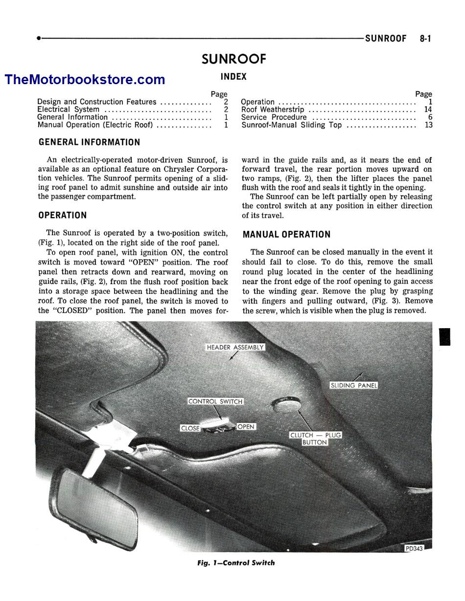 1973 Plymouth, Chrysler, Imperial Shop Manual Sample Page - Sunroof