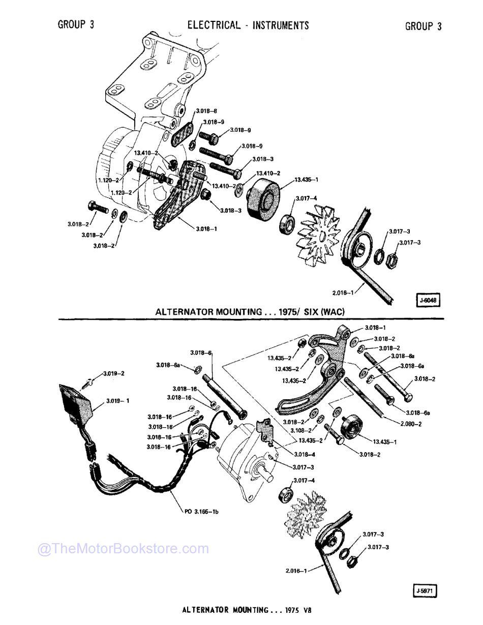 1974 - 1980 Jeep Parts Catalog F-74080 R2  Sample Page 1 - Alternator Mounting