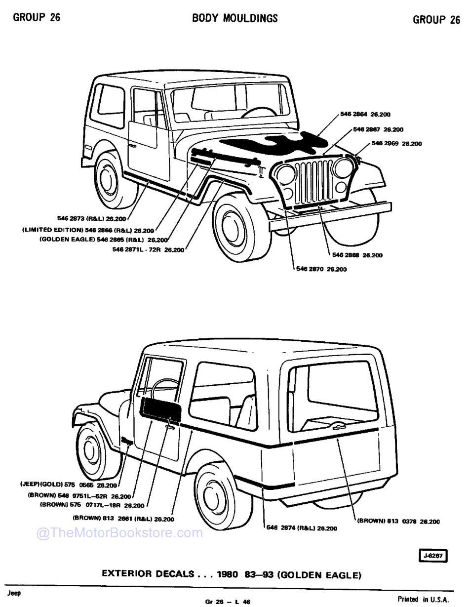 1974 - 1980 Jeep Parts Catalog F-74080 R2  Sample Page 3 - Body Mouldings / 1980 Exterior Decals