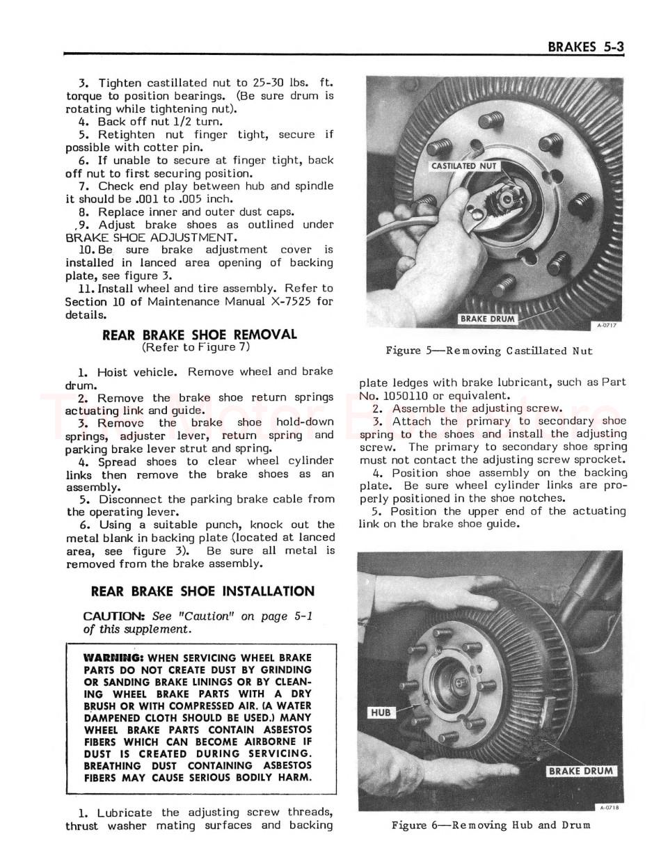 1977-1978 GMC Motorhome Shop Manual Supplement Sample Page - Brakes