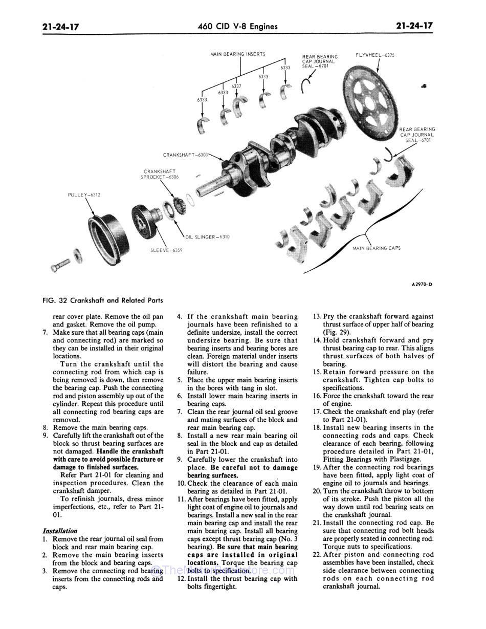 1977 Ford / Lincoln / Mercury Shop Manual Sample Page - 460 CID Crankshaft