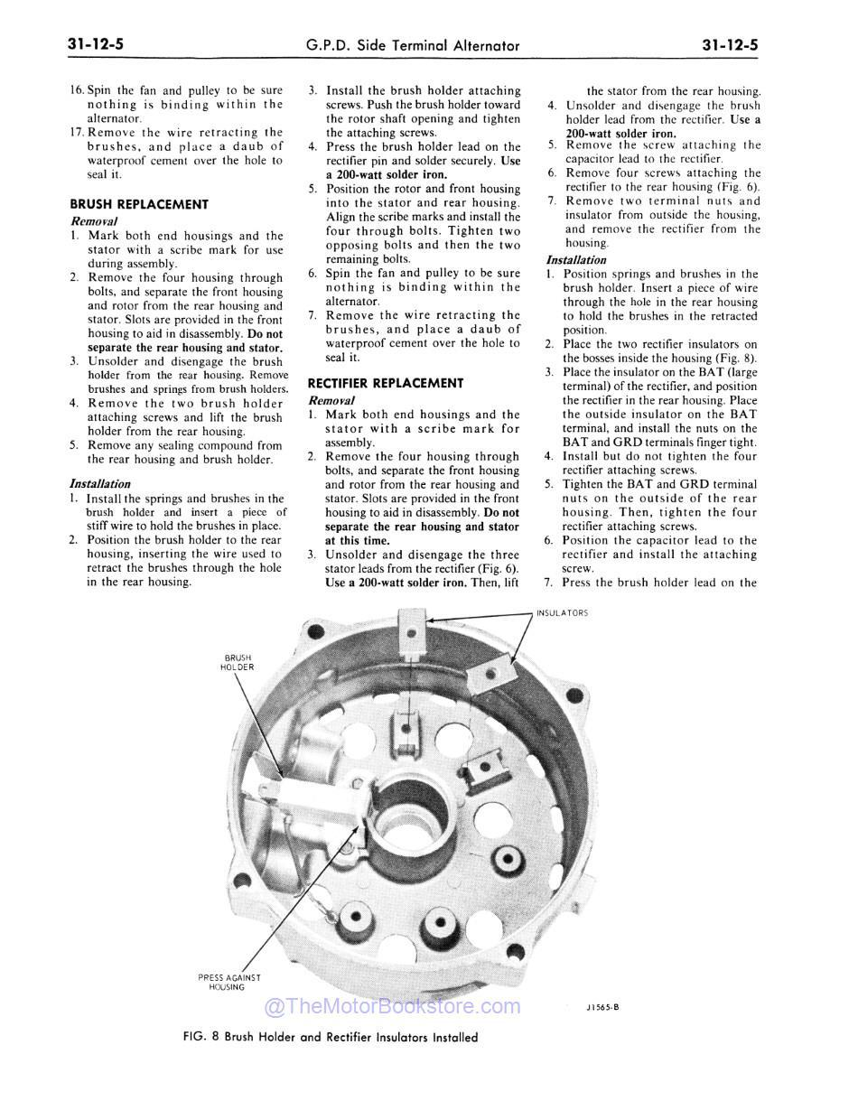 1977 Ford / Lincoln / Mercury Shop Manual Sample Page - Brush / Rectifier Replacement