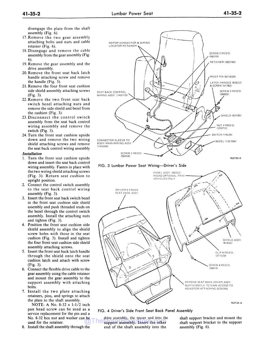 1977 Ford / Lincoln / Mercury Shop Manual Sample Page - Seat Back Assembly