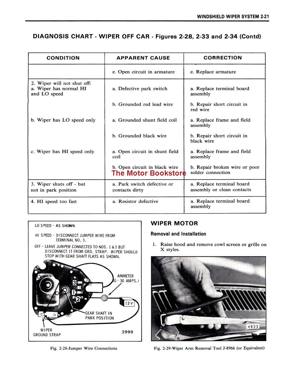 1978 Fisher Body Shop Manual Sample Page - Windshield Wiper System