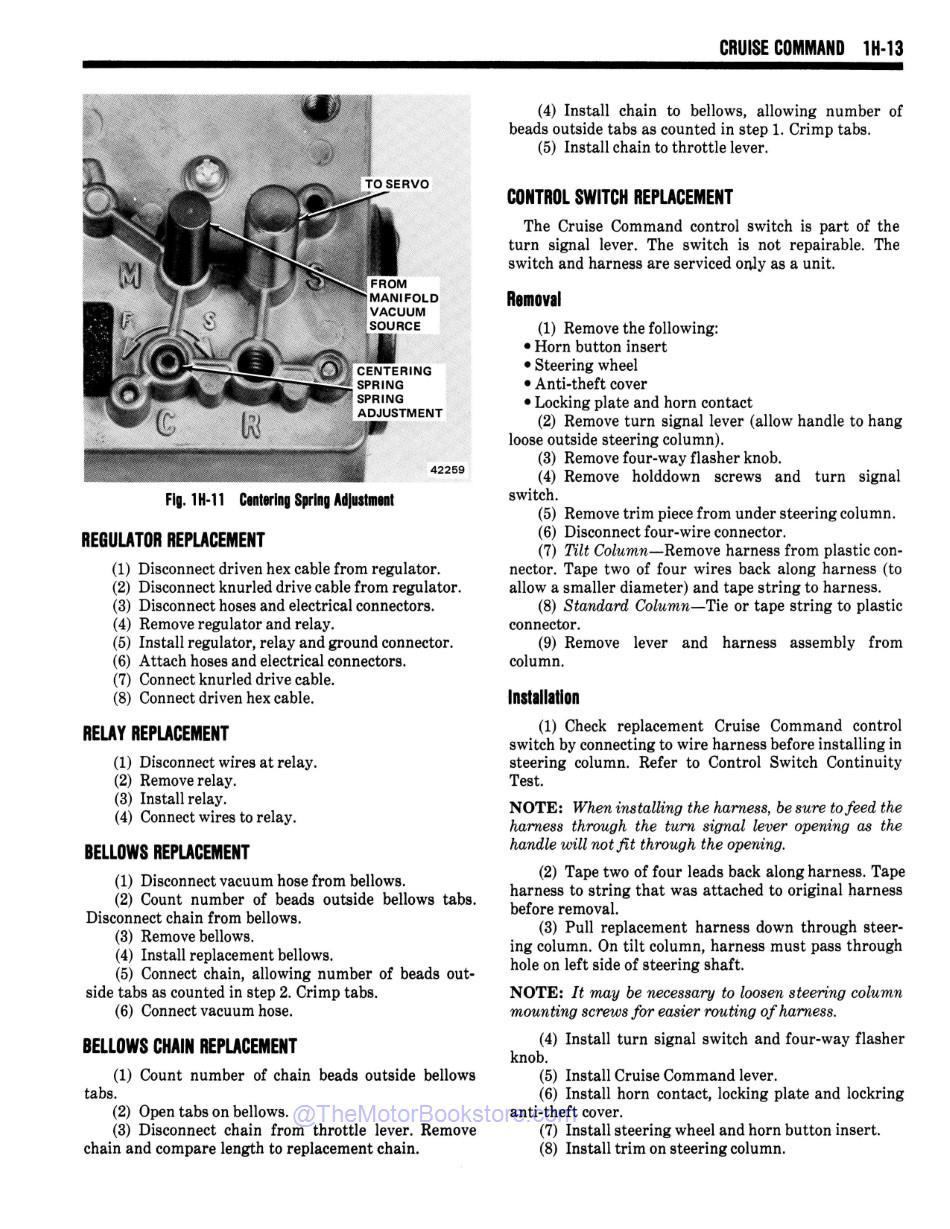 1978 Jeep Technical Service Manual Sample Page - Cruise Command
