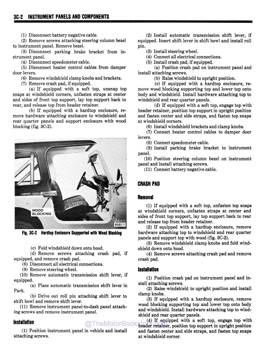 1978 Jeep Technical Service Manual Sample Page - Instrument Panel