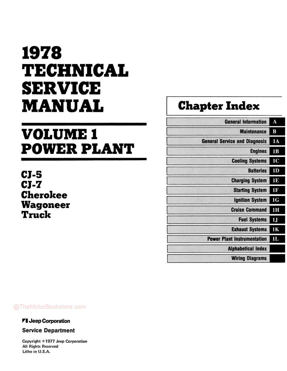 1978 Jeep Technical Service Manual - Table of Contents 1