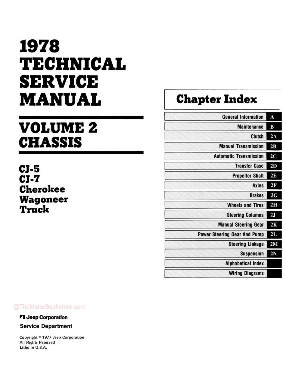 1978 Jeep Technical Service Manual - Table of Contents 2