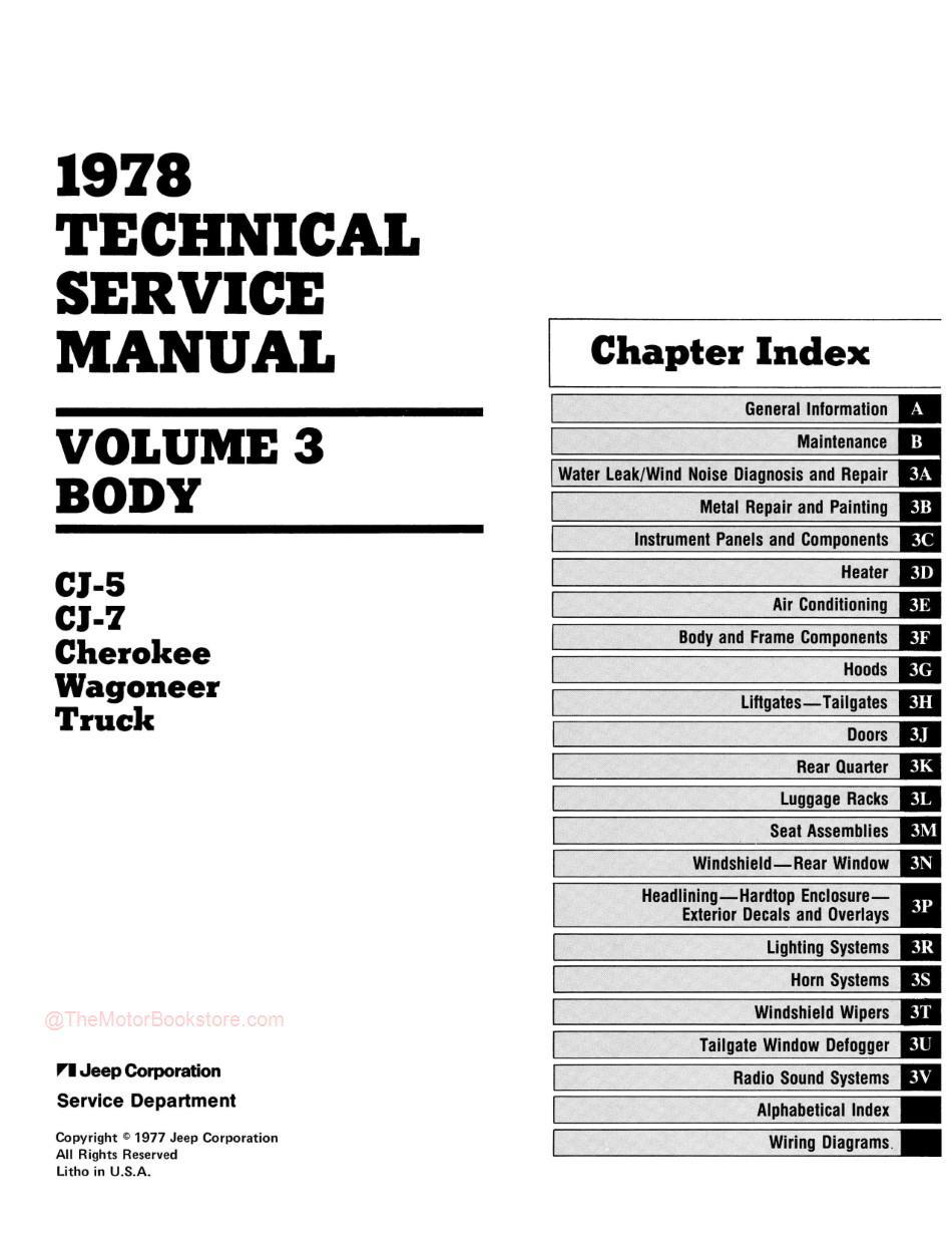 1978 Jeep Technical Service Manual - Table of Contents 3