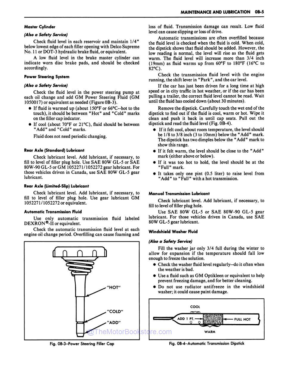 1981 Chevrolet Car Shop Manual Sample Page - Maintenance and Lubrication