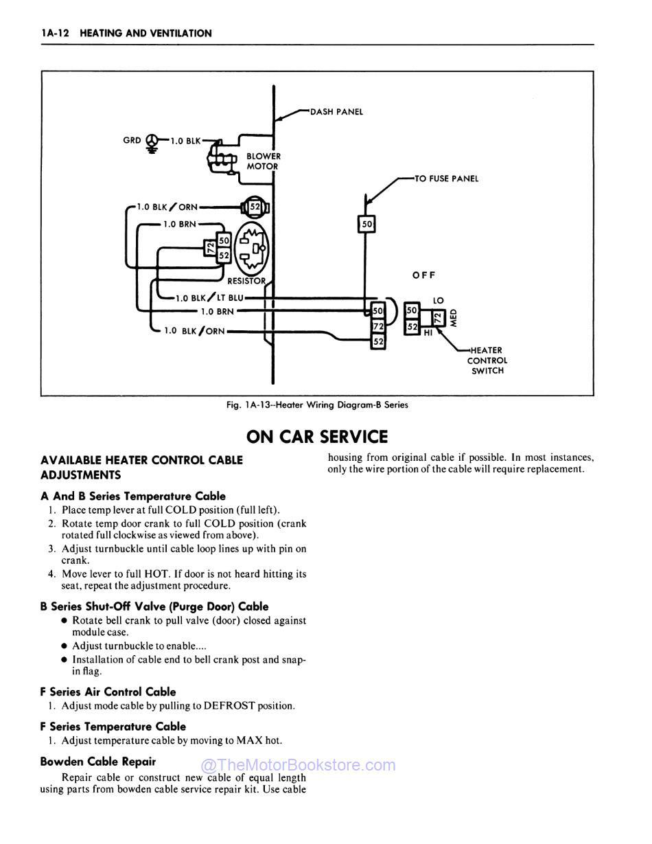 1981 Chevrolet Car Shop Manual Sample Page - Heater Wiring Diagram