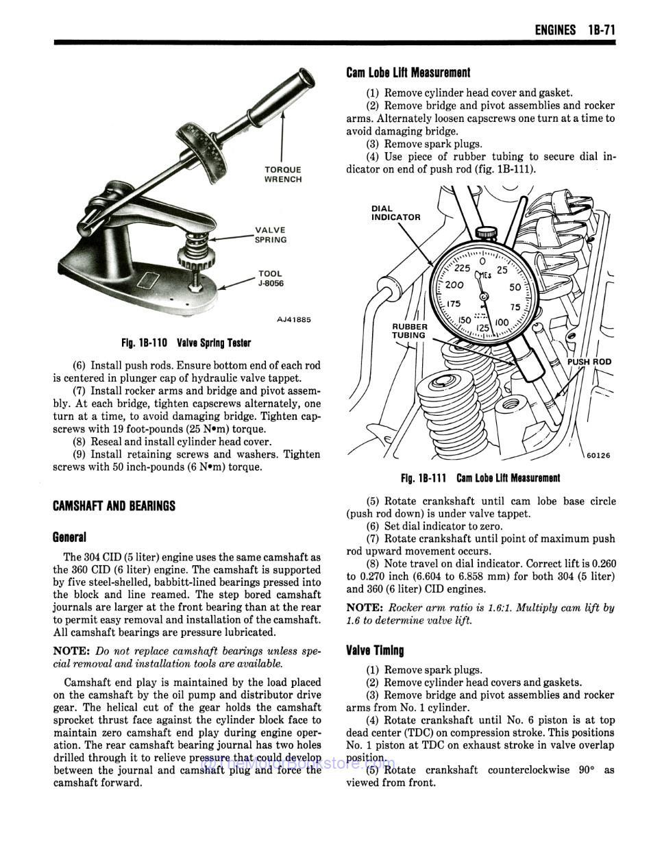 1981 Jeep Shop Manual Sample Page - Valve Timing