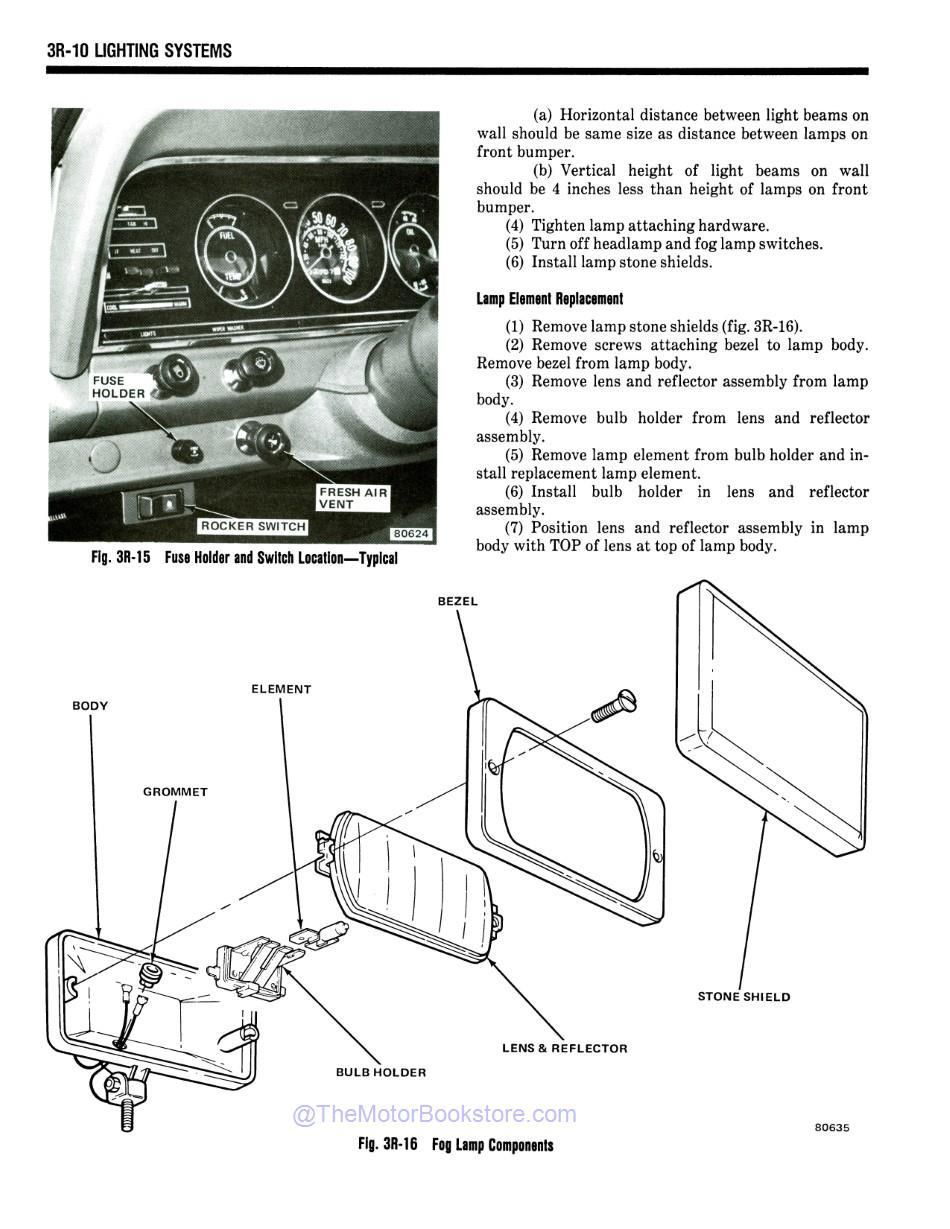 1981 Jeep Shop Manual Sample Page - Fog Lamp Components