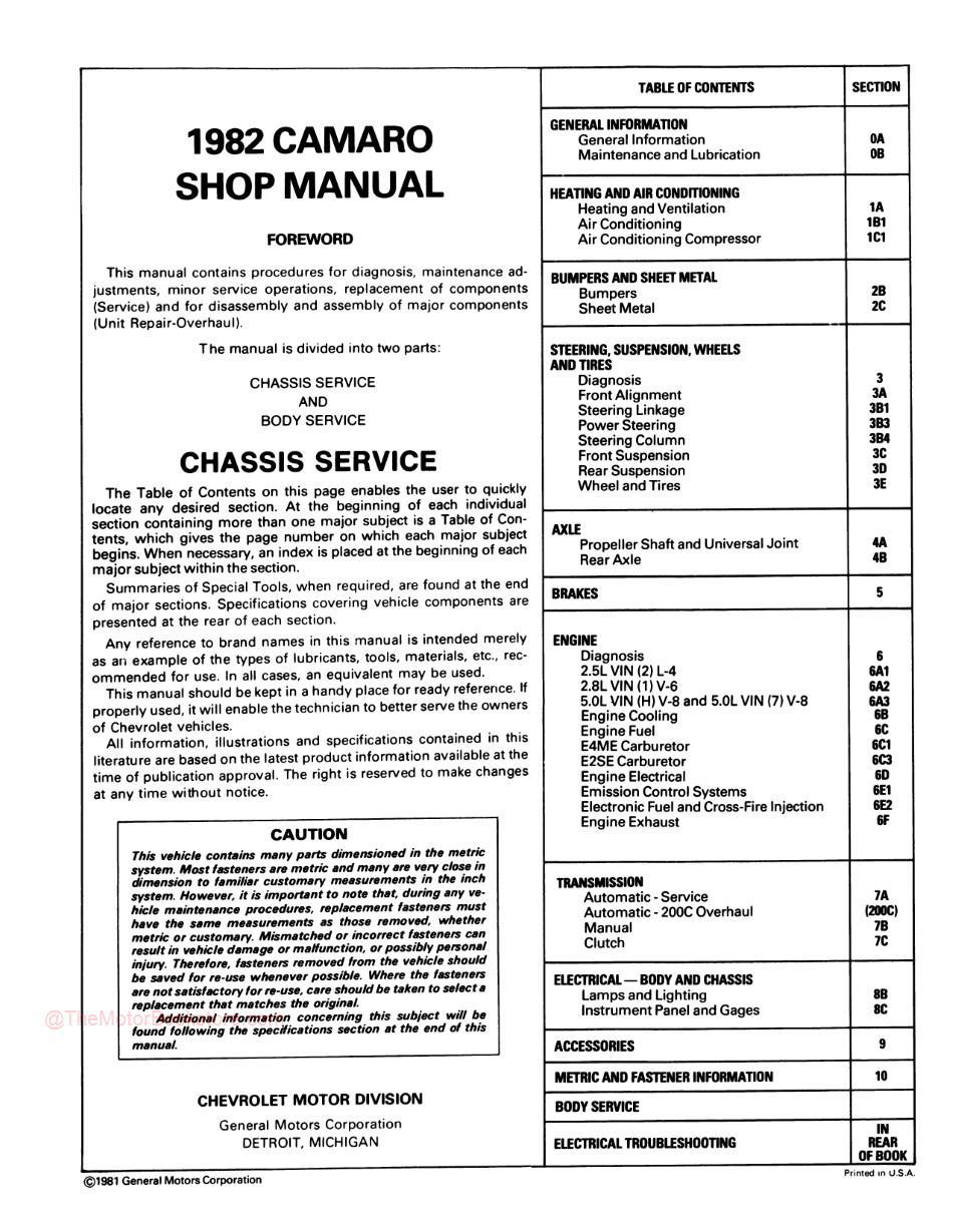 1982 Chevrolet Camaro Shop Manual - Table of Contents Chassis