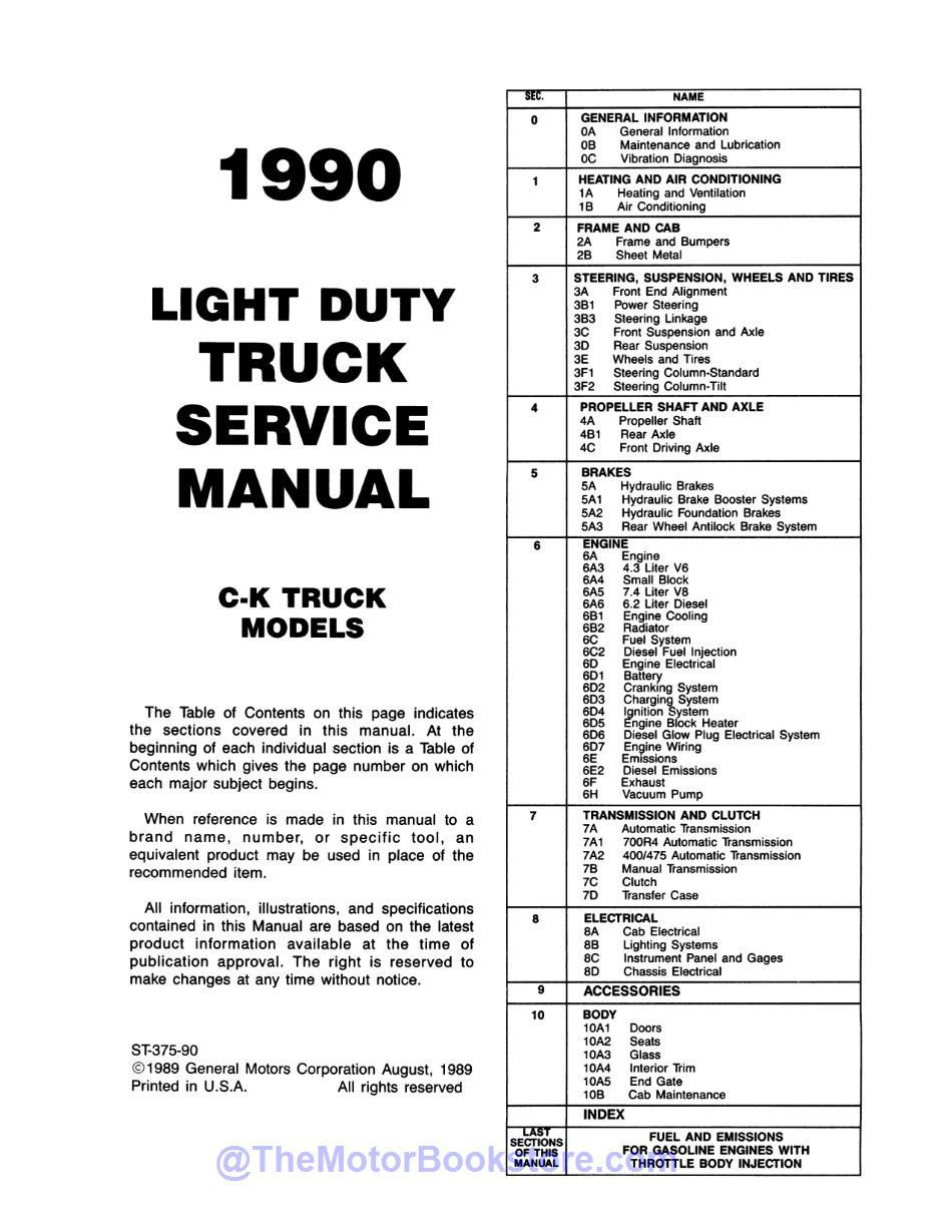 1990 Chevy C-K Pickup Truck Service Manual  - Table of Contents 1