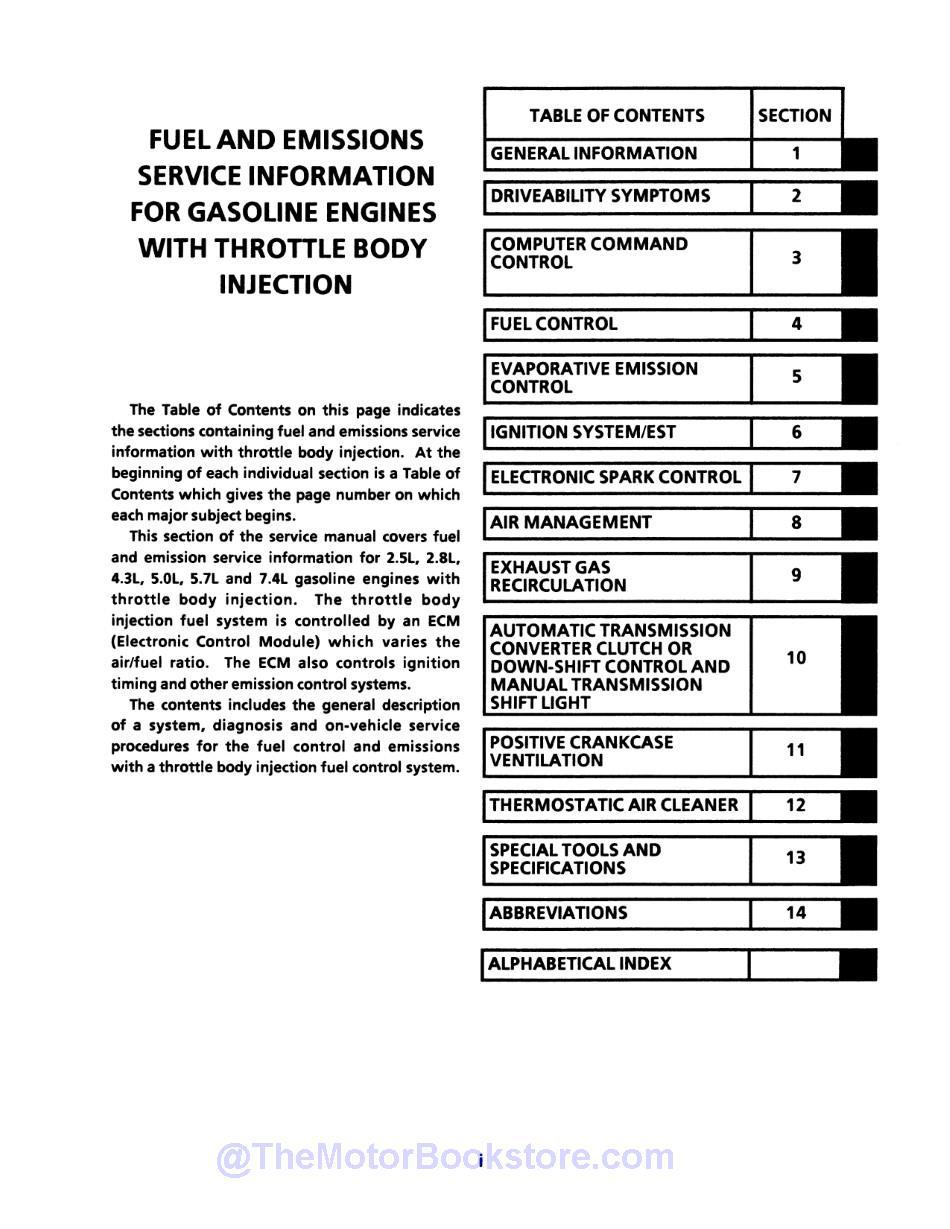 1990 Chevy C-K Pickup Truck Service Manual  - Table of Contents 2