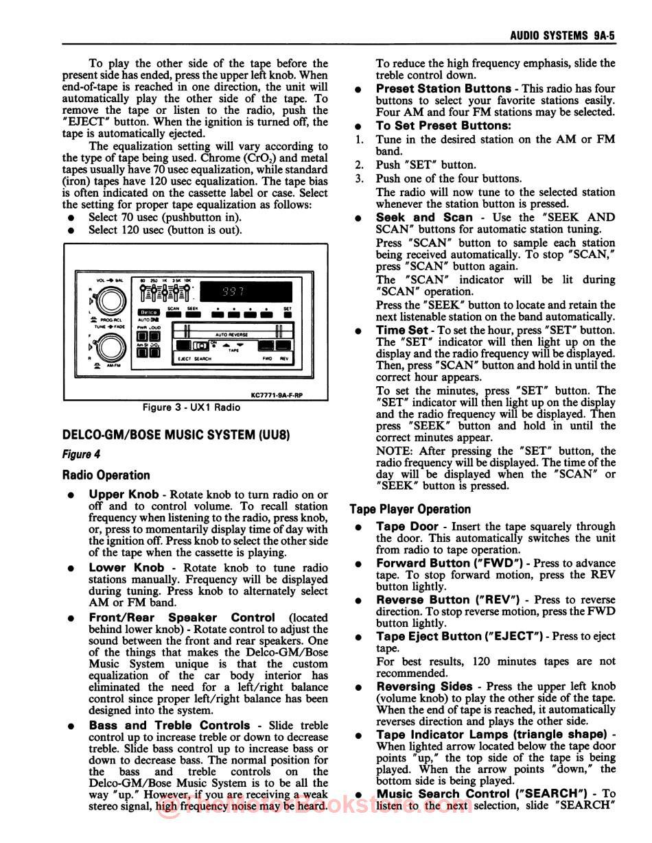 1990 Chevy Camaro Service Manual - Sample Page - Audio Systems