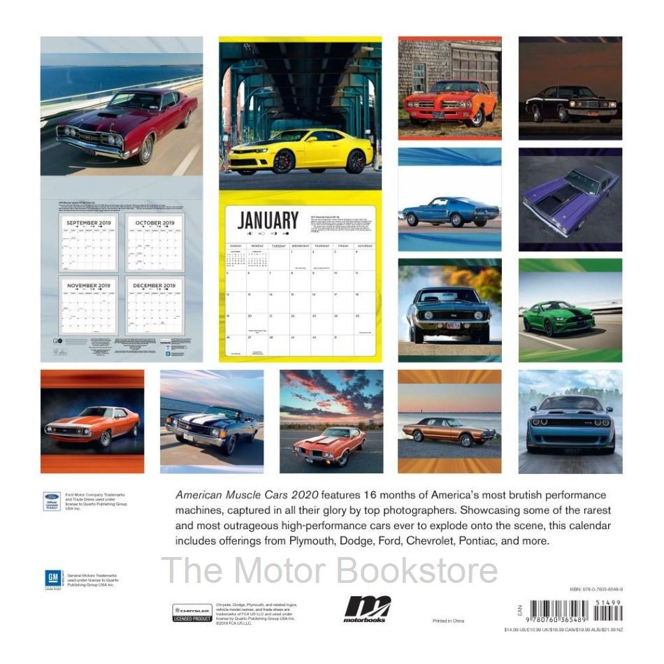 Muscle Car Calendar 2020 - Back