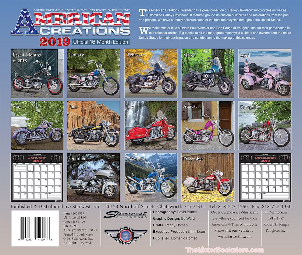 American Creations Wall Calendar 2019 - Back