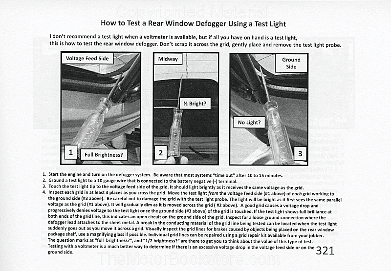 Auto/Truck Electrical Testing Sample Page - Test Window Defogger