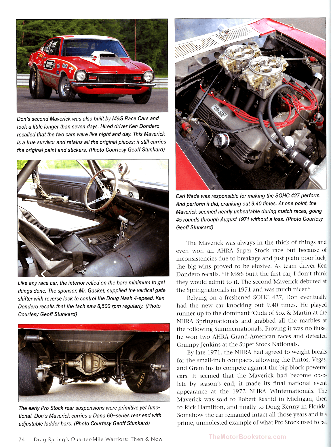 Drag Racing's Quarter-Mile Warriors Then & Now Sample Page - Don Nicholson's 1970 Maverick - CT528