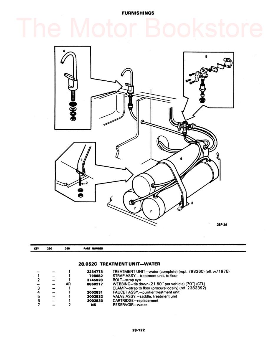 1973-1978 GMC Motorhome Parts Book Sample Page - Furnishings
