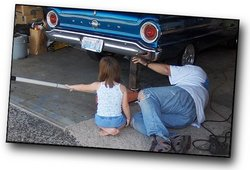 Grandfather and Granddaughter repair 1963 Falcon