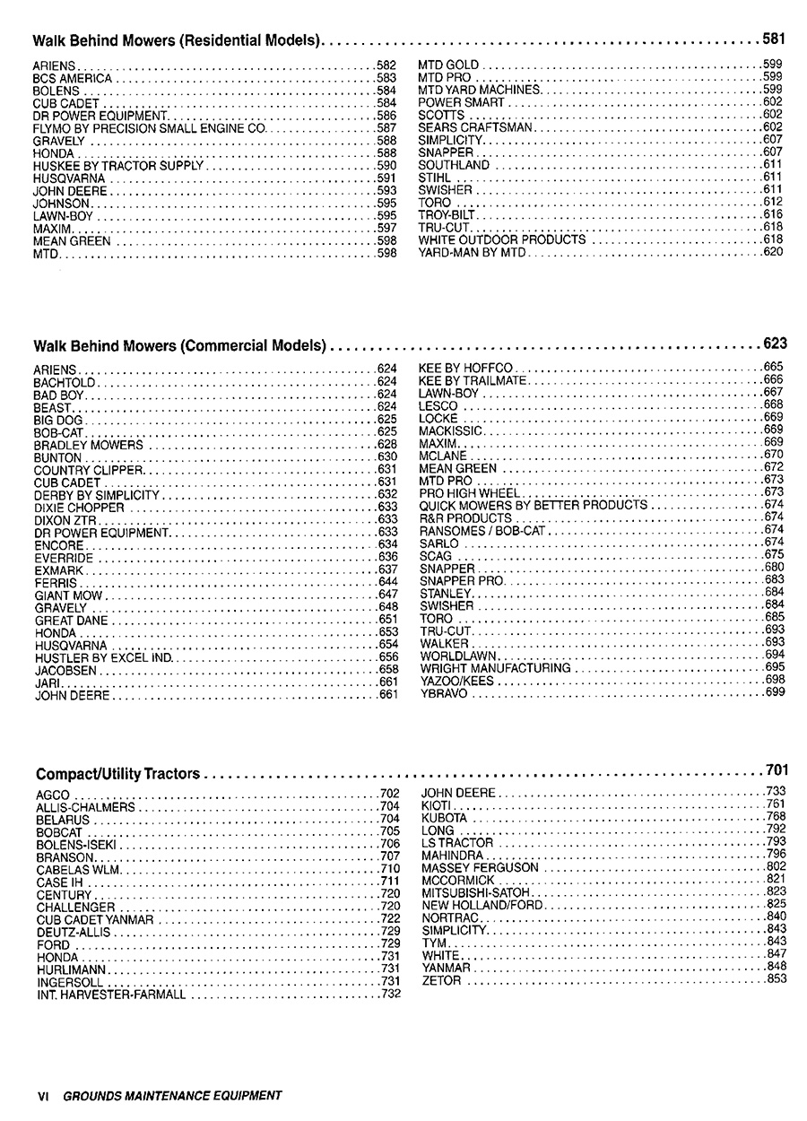 Grounds Maintenance Equipment Blue Book Table of Contents Page 2