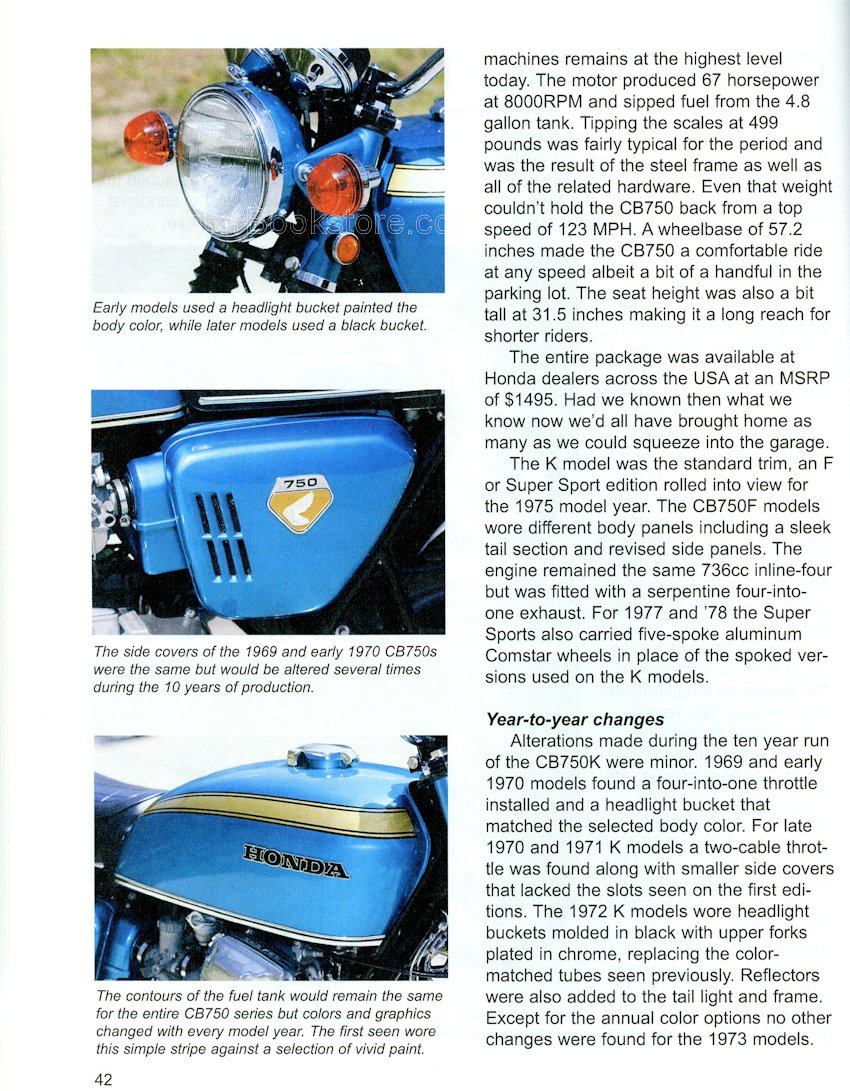 Honda Enthusiasts Guide Motorcycles 1959 1985 9781935828853 1970 Ct70 Paint Colors Cb750 Sample Page Wp885