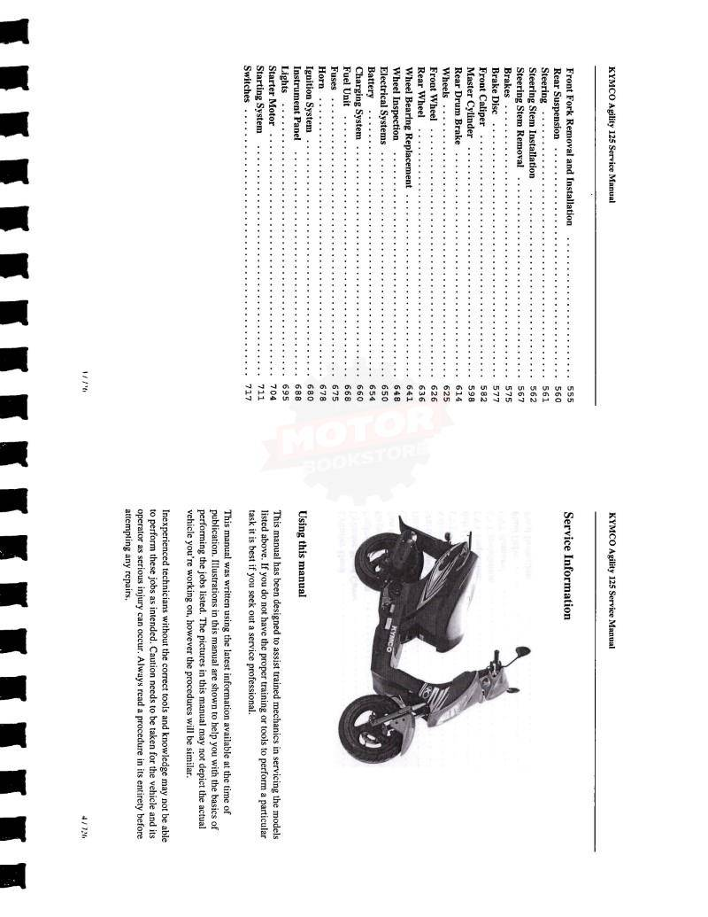 KYMCO Agility 125 Scooter Service Manual - Table of Contents 2