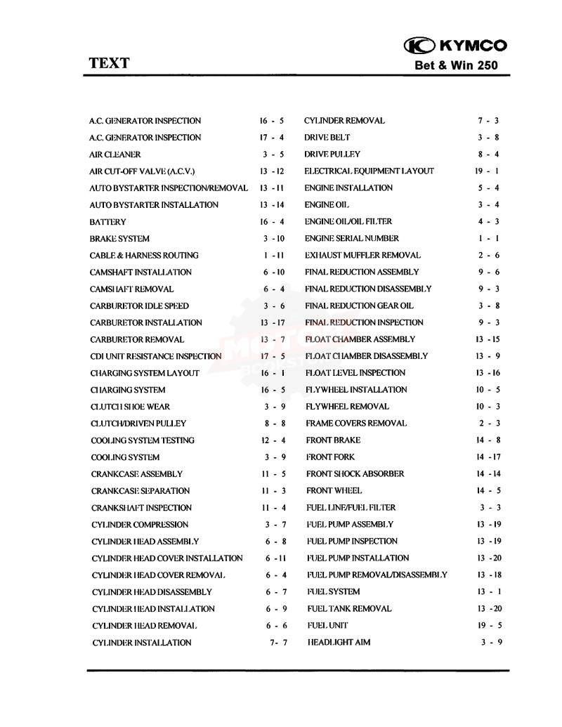 KYMCO Bet & Win 250 Service Manual 2002-2007 - Table of Contents 1