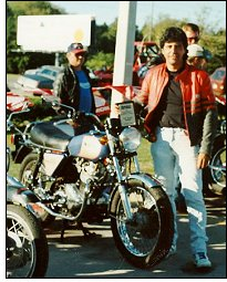 Luis and his Norton 850 at a bike show.
