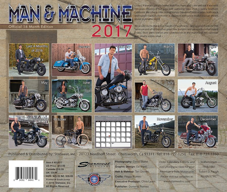 Man & Machine Wall Calendar 2017 - Back