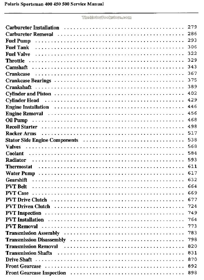 Polaris 400  450  500 Service Manual  2004